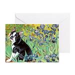 Irises & Boston Ter Greeting Card