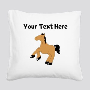 Brown Horse (Custom) Square Canvas Pillow
