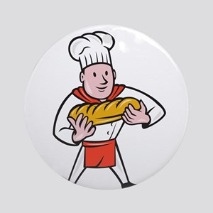 Baker Holding Bread Loaf Isolated Cartoon Ornament