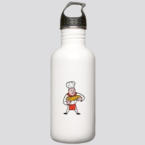 Baker Holding Bread Loaf Isolated Cartoon Water Bo