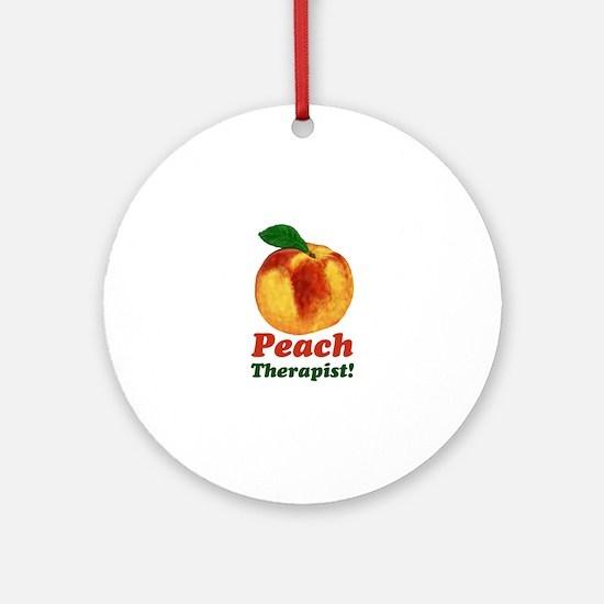 Peach Therapist Pun Round Ornament