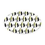 Moorish Idol Fish Pattern Oval Car Magnet