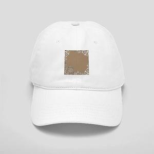 girly tan sand white lace Cap