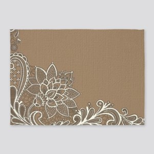 girly tan sand white lace 5'x7'Area Rug