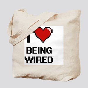 I love Being Wired Digitial Design Tote Bag