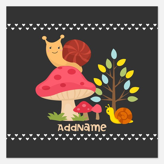 Cute Mushrooms Snails Perso Invitations