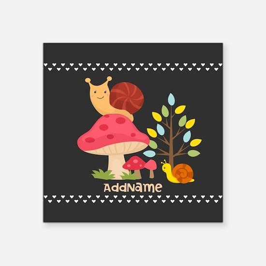 "Cute Mushrooms Snails Perso Square Sticker 3"" x 3"""