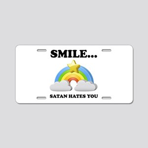 Satan Hates You Aluminum License Plate