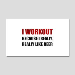 Workout Beer Car Magnet 20 x 12