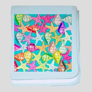 Seashells and sea stars baby blanket