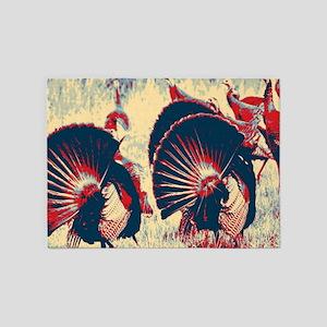 vintage american wild turkey 5'x7'Area Rug
