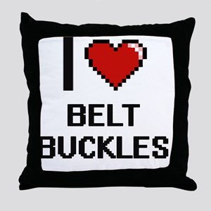 I Love Belt Buckles Digitial Design Throw Pillow
