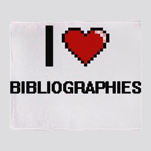 I Love Bibliographies Digitial Desig Throw Blanket