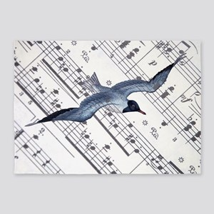 modern ocean nautical seagull 5'x7'Area Rug