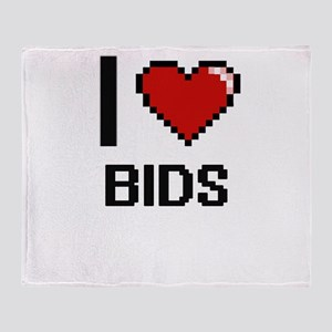 I Love Bids Digitial Design Throw Blanket