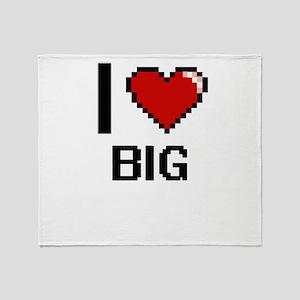 I Love Big Digitial Design Throw Blanket