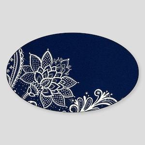 navy blue white lace Sticker