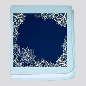 navy blue white lace baby blanket