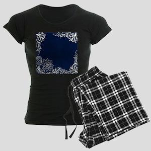 navy blue white lace Women's Dark Pajamas