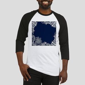 navy blue white lace Baseball Jersey