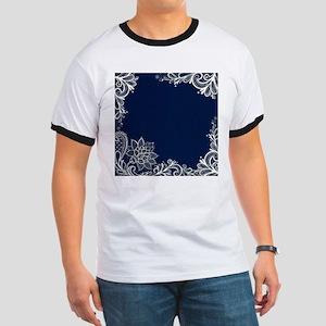 navy blue white lace T-Shirt