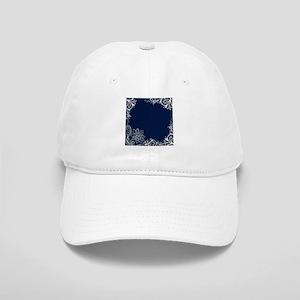 navy blue white lace Cap