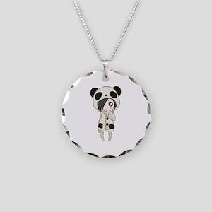 Kawaii Panda Girl Necklace Circle Charm