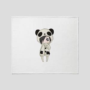 Kawaii Panda Girl Throw Blanket