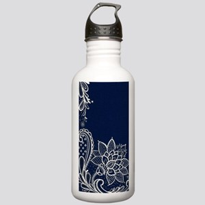 navy blue white lace Stainless Water Bottle 1.0L