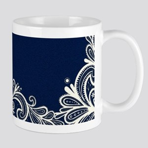 navy blue white lace Mugs