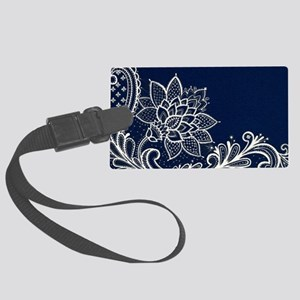 navy blue white lace Large Luggage Tag