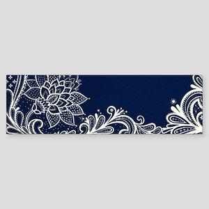 navy blue white lace Bumper Sticker