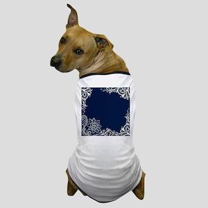 navy blue white lace Dog T-Shirt