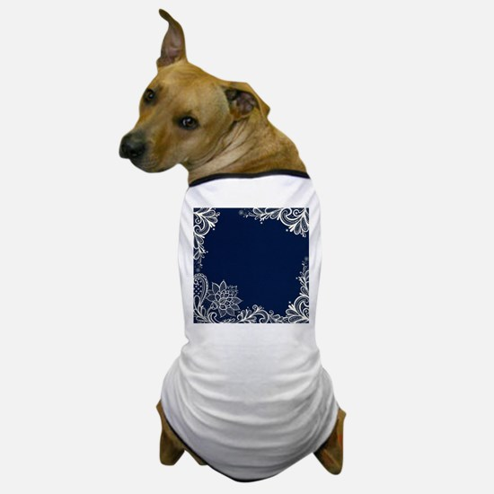 navy blue white lace Dog T-Shirt