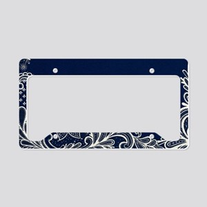 navy blue white lace License Plate Holder