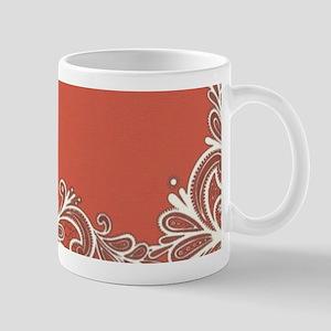 mandarin coral white lace Mugs