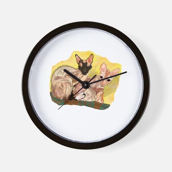 Tiger & George - Cornish Rex Cats Wall Clock