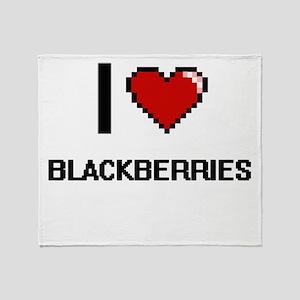 I Love Blackberries Digitial Design Throw Blanket