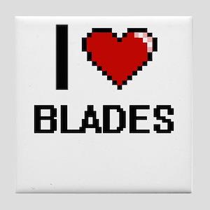 I Love Blades Digitial Design Tile Coaster