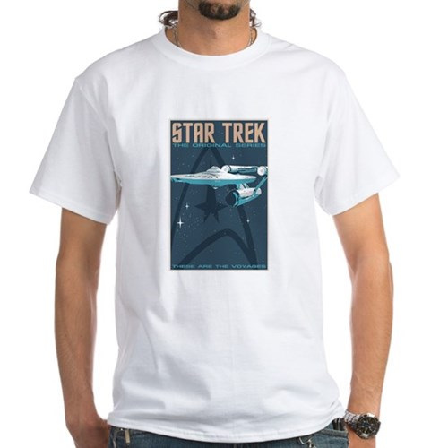 Retro Star Trek:TOS Poster White T-Shirt