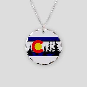 Colorado Trees2 Necklace Circle Charm