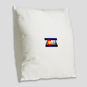 Colorado Trees2 Burlap Throw Pillow