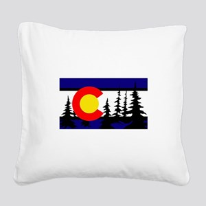 Colorado Trees2 Square Canvas Pillow