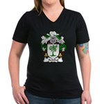 Azinhal Family Crest Women's V-Neck Dark T-Shirt