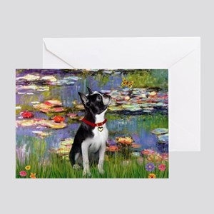 Lilies & Boston Terrier Greeting Card