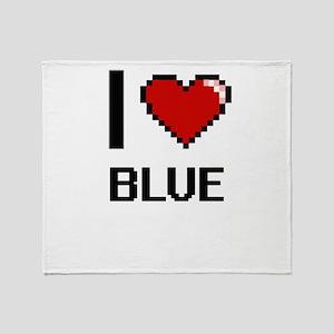 I Love Blue Digitial Design Throw Blanket