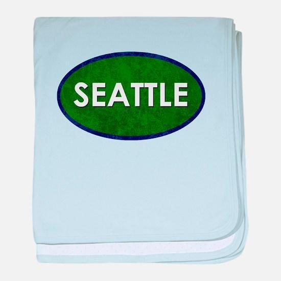 Seattle White Green Stone baby blanket