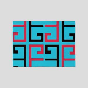 Light Blue Funky Tile 5'x7'Area Rug