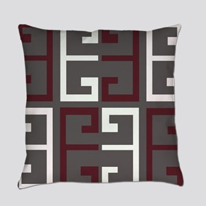 Charcoal and Maroon Tile Everyday Pillow