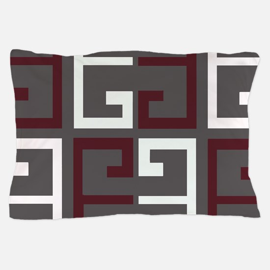Charcoal and Maroon Tile Pillow Case